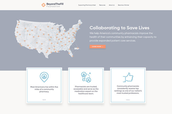 Screen shot of BeyondTheFill Foundation website homepage