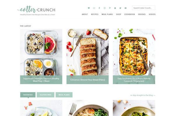 Screen shot of Cotter Crunch food blog website homepage redesign