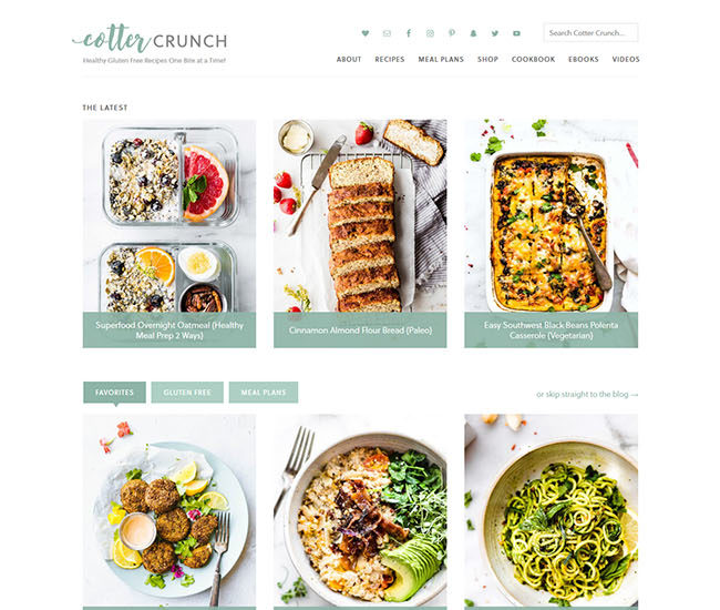 Screen shot of Cotter Crunch food blog website homepage redesign