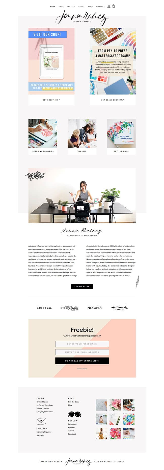 Screen shot of Jenna Rainey Design Studio website homepage