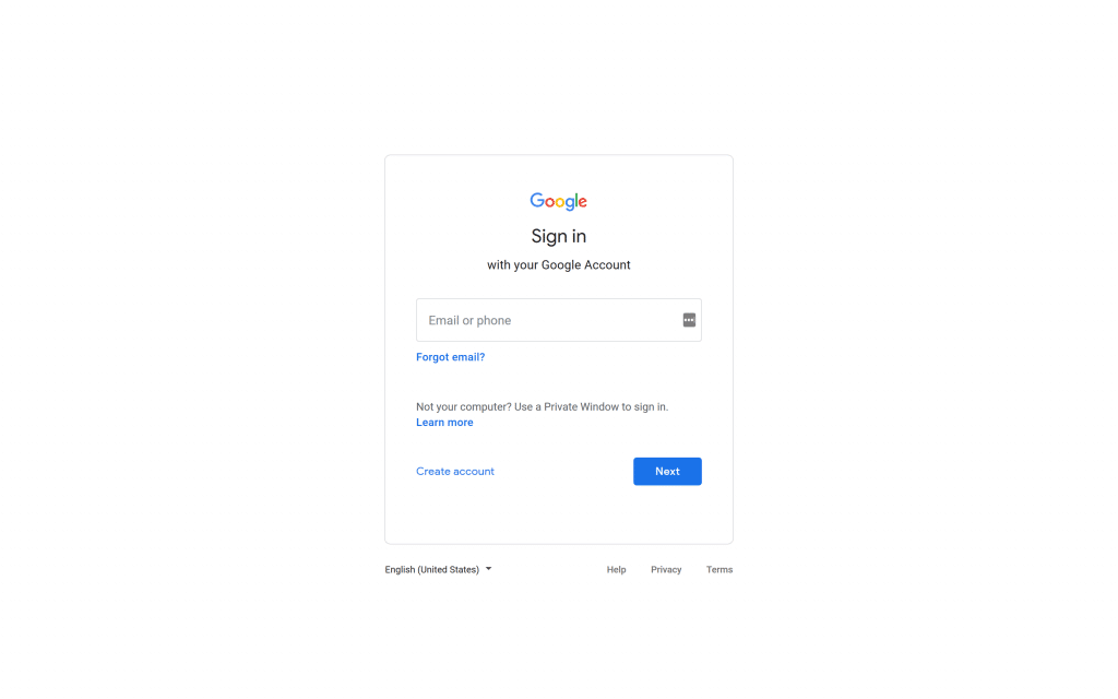 Screen shot of Google sign in form