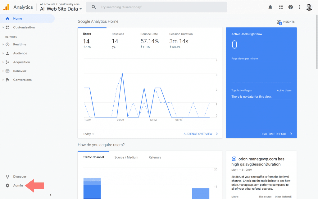 Screen shot of Google Analytics home screen with an arrow pointing to the 'Admin' option