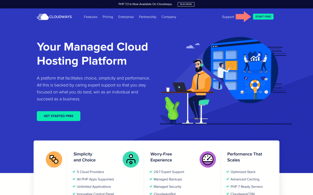Screen shot of Cloudways homepage with arrow pointing to Start Free button in upper right