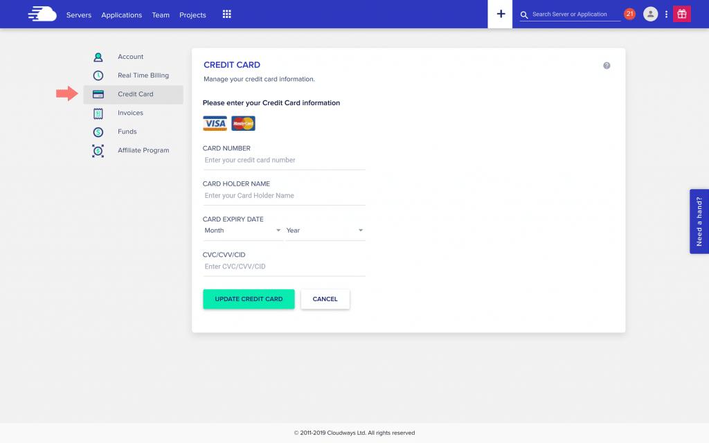 Screen shot of Cloudways credit card update screen