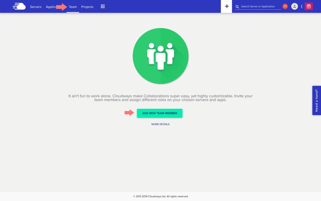 Screen shot of Cloudways team screen