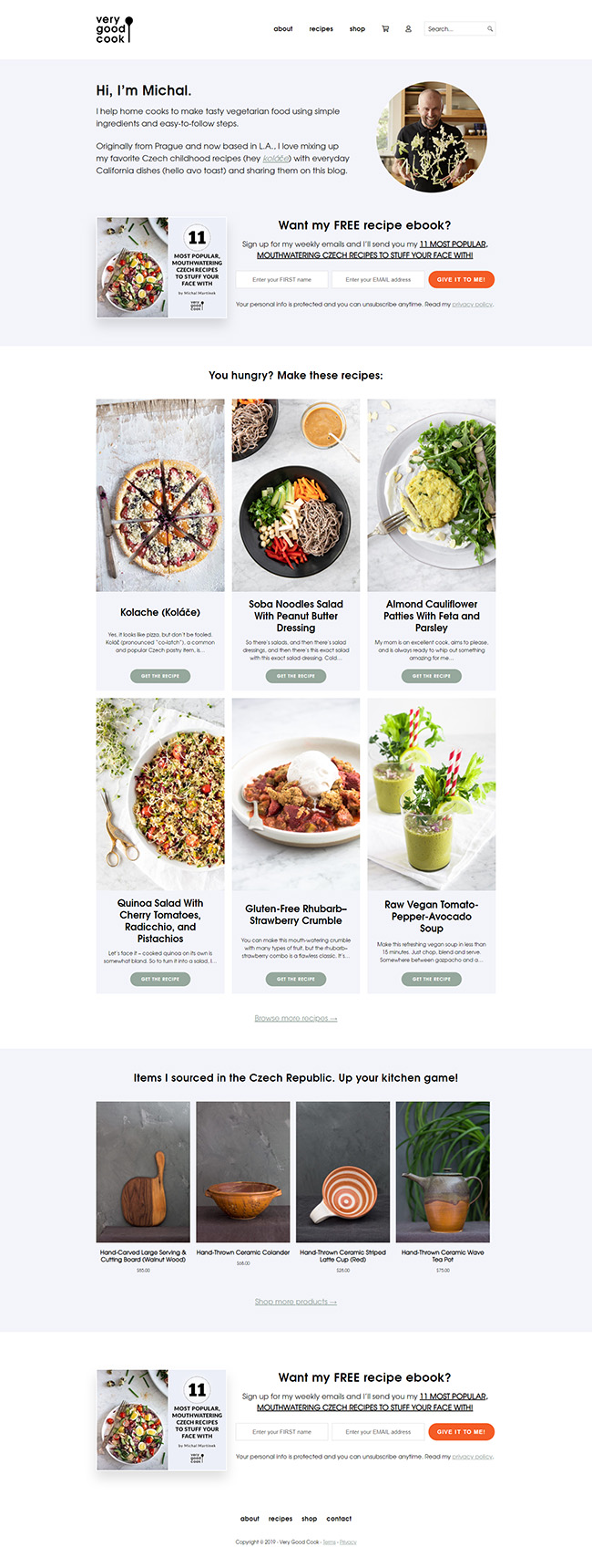 Screen shot of Very Good Cook website homepage
