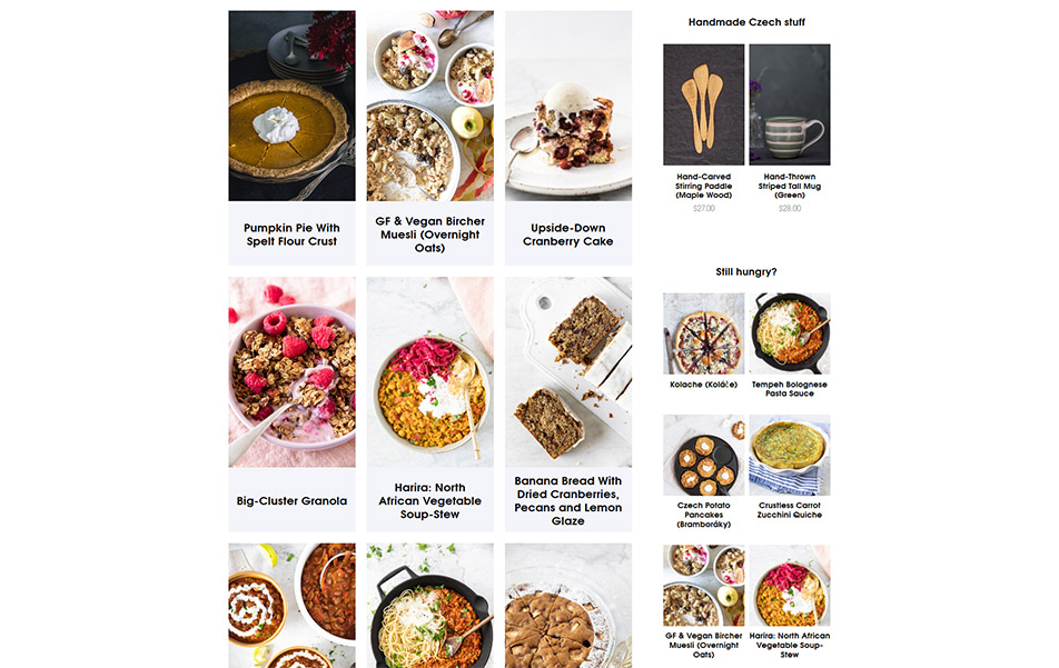 Screen shot of food blog posts on Very Good Cook