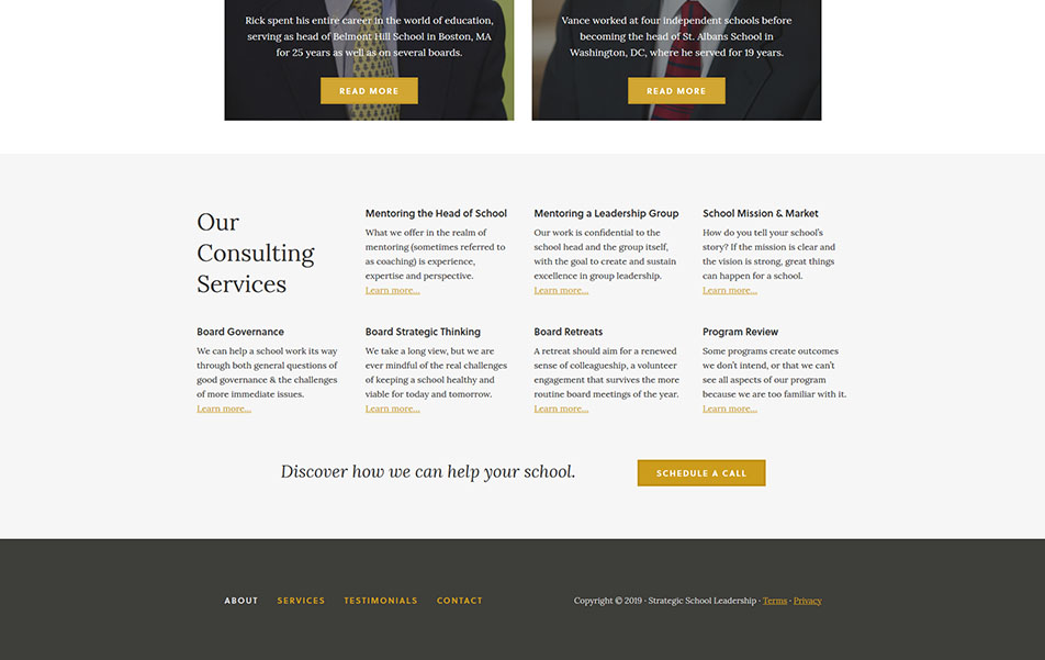 Screen shot of desktop footer view of custom website for Strategic School Consulting