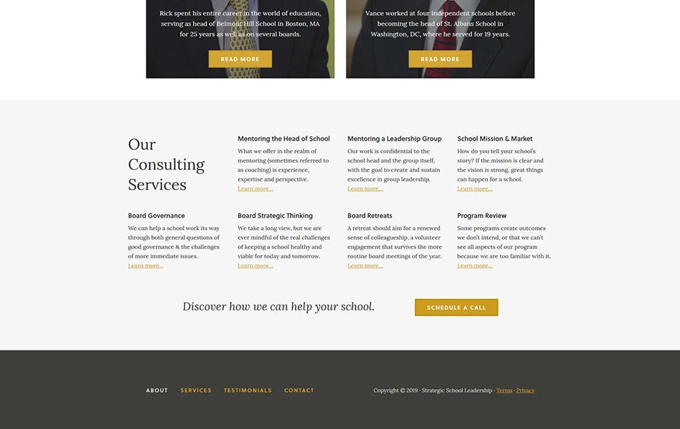 Screen shot of desktop footer view of custom website for Strategic School Consulting