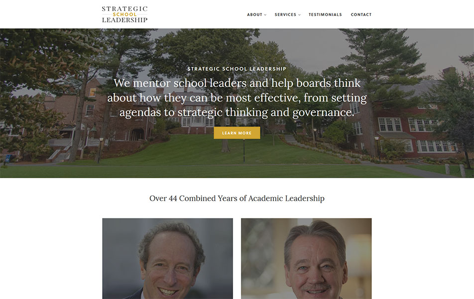 Desktop view screen shot of custom WordPress website for Strategic School Leadership consulting firm