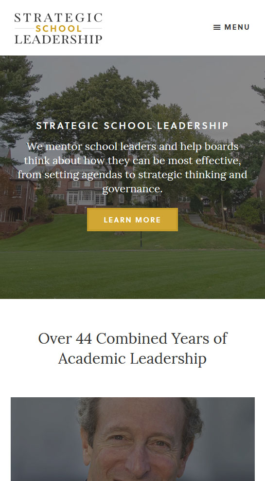 Screen shot of mobile view of Strategic School Leadership website