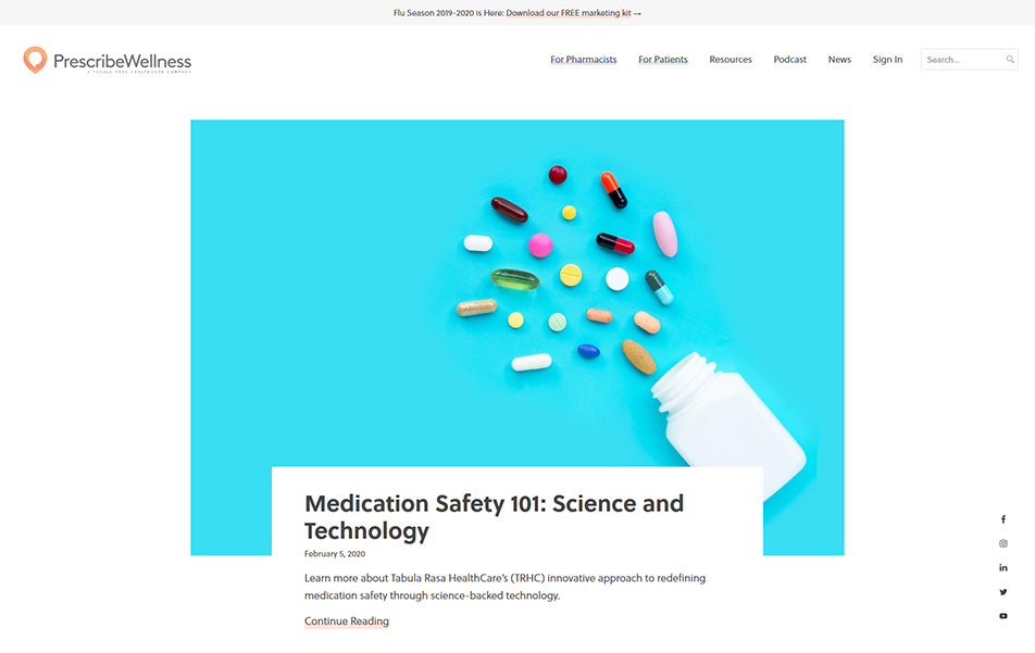 Desktop view screenshot of Custom WordPress Website - PrescribeWellness Healthcare Blog