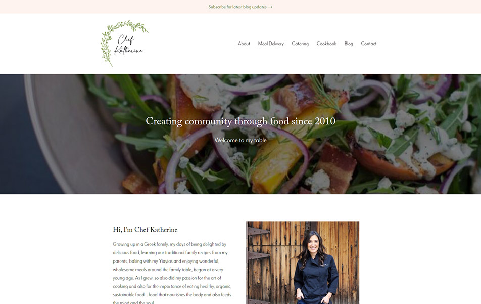 Screenshot of Chef Katherine website homepage