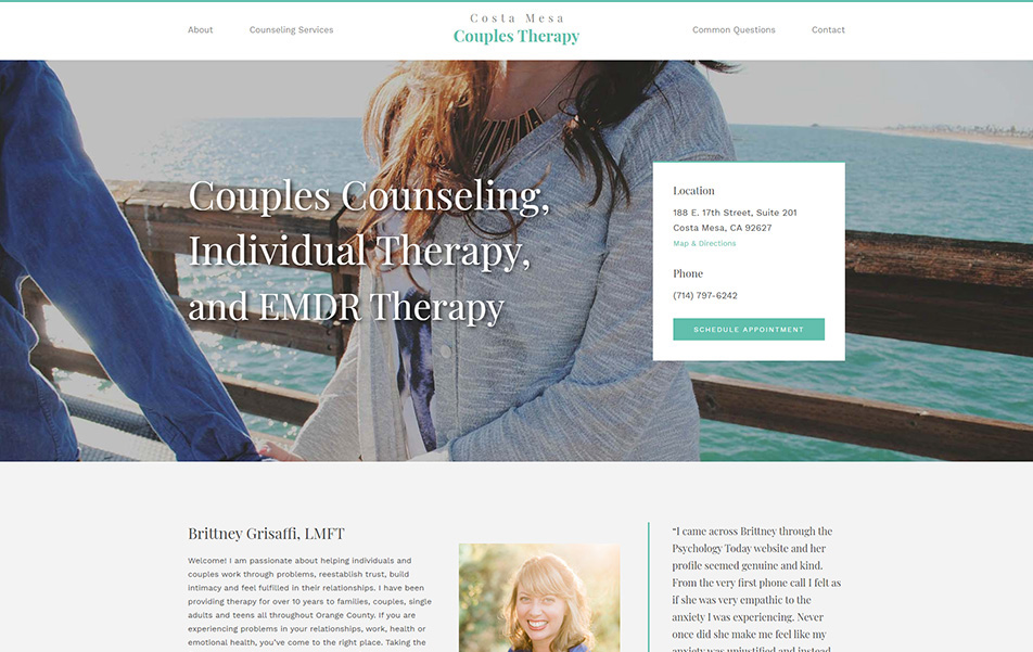 Costa Mesa Couples Therapy website homepage