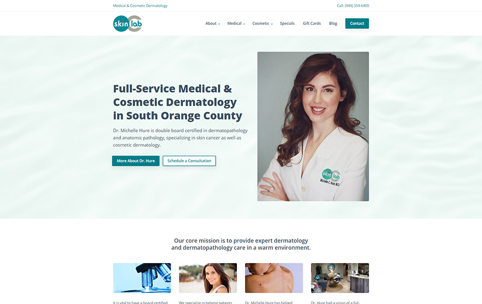 Screenshot of OC SkinLab website homepage