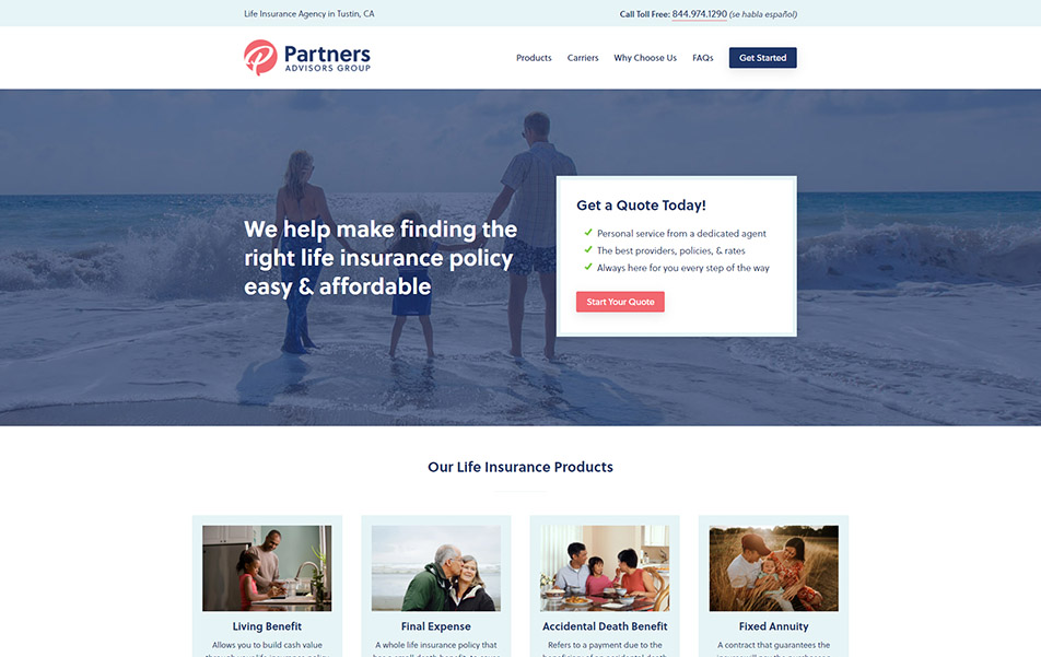 Screenshot of Partners Advisors Group website