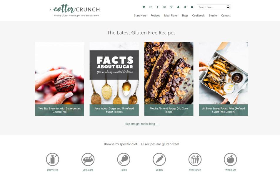 Cotter Crunch website homepage