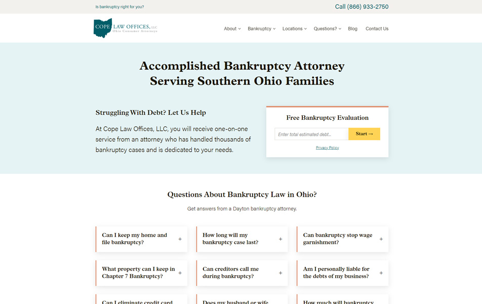 Cope Law Offices website homepage