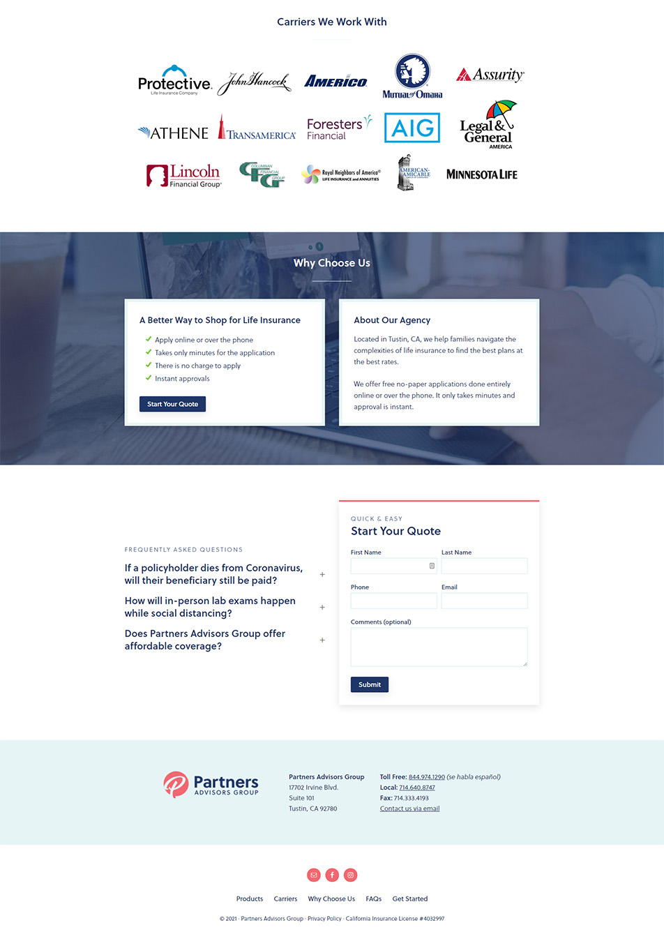 Partners Advisors Group website homepage