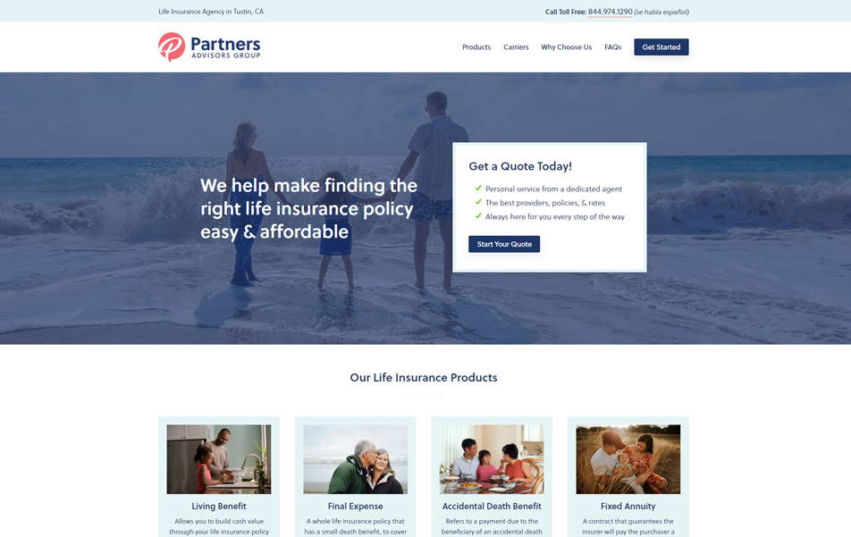 Partners Advisors Group website homepage